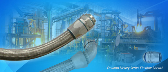 Delikon EMI Shielding Heavy Series Over Braided Flexible Conduit and Heavy Series Conduit Connector protect Continuous Casting Machine electrical power and automation cables.