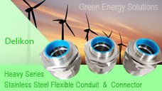 Delikon heavy series stainless steel flexible conduit and stainless steel connector,liquid tight metal conduit and fittings for green energy power station