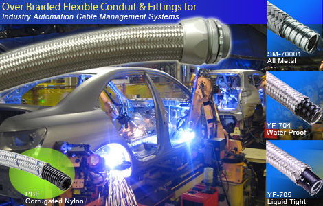Over Braided Flexible Conduit & Fittings For Industry Automation Cable Management