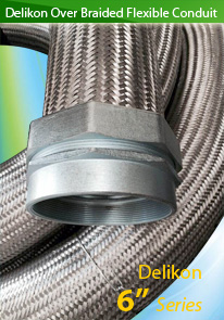 Delikon Over Braided Flexible Metal Conduit protecting power and data cables and air & fluid lines in harsh industrial invironment