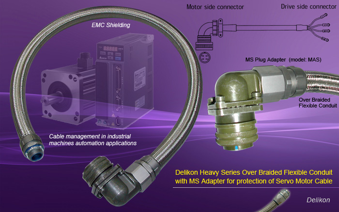 Delikon Heavy Series Over Braided Flexible Conduit with MS Adapter, Military Circular Connector Backshell protects Servo Motor Cable. Delikon continuous casting machine automation cable protection Heavy Series Over Braided Flexible Conduit system.