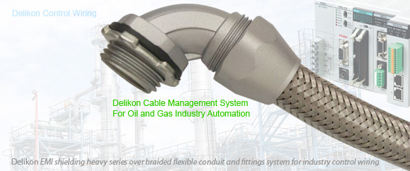 In such a dynamic industry, oil and gas companies today are looking for ways to maximize production while minimizing equipment and aotmation control system maintenance down time and costs. Delikon heavy series over braided flexible conduit and fittings system offers protection as well as emi shielding for electrical and data cables of control system for the continuous production, processing, transportation and refining of oil and gas products. Poor wiring or connections will result in poor machine functionality and or damage. When evaluating the need for control wiring installation or upgrades, donot forgot to choose Delikon Automation Cable Management System that can provide qualified protection and shielding, keeping the interference from signal noise to a minimum.