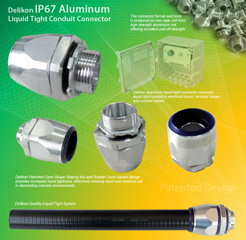 Delikon IP67 Aluminum Liquid Tight Conduit Connector for industry automation wiring