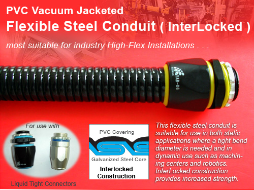 PVC Vacuum Jacketed Flexible Steel Conduit,InterLocked PVC Coated Flexible Metal Conduit